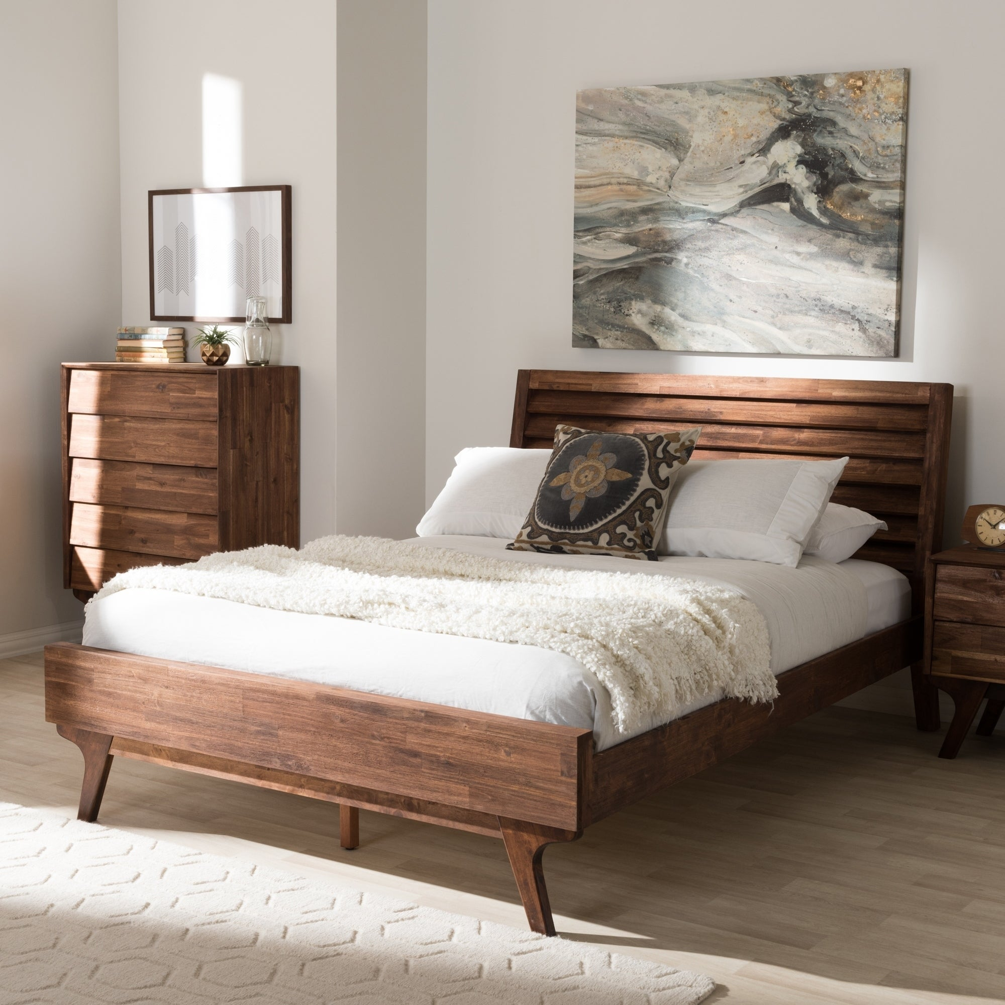 Mid-Century Brown Wood Queen Size Platform Bed by Baxton Studio ...
