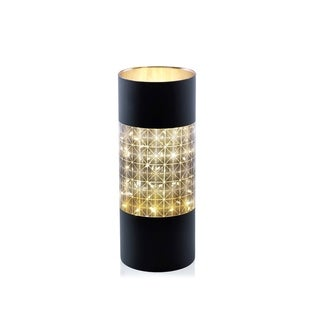 """12"""" Tall LED Hurricane Candle Holder, Abstract Design, Black"""