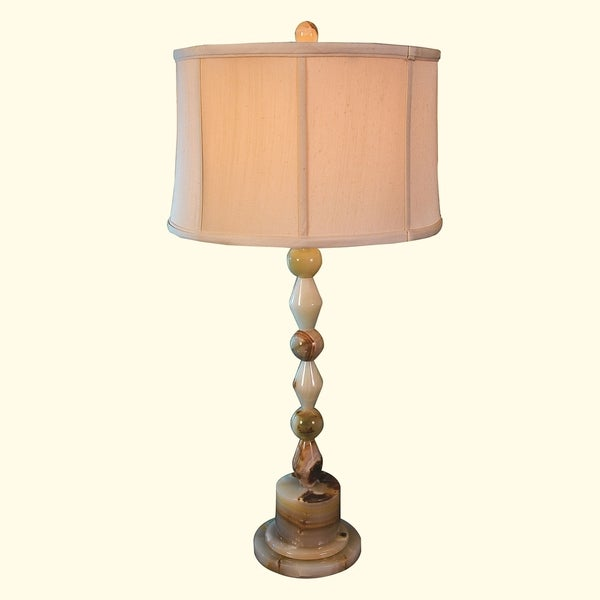 """31.75"""" Tall Onyx Table Lamp """"Zabori"""" with Linen Shade, Chartreuse"""