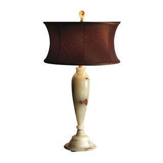 "31"" Tall Marble Table Lamp ""Andromeda"" with Linen Shade, Beige"