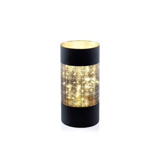 """10"""" Tall LED Hurricane Candle Holder, Abstract Design, Black"""