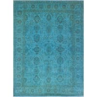 Overdyed Chobi Waheed Blue/Rust Rug (7'10 x 10'3)