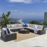 Santa Cruz Outdoor 9-piece Wicker Sectional with Cushions by Christopher Knight Home