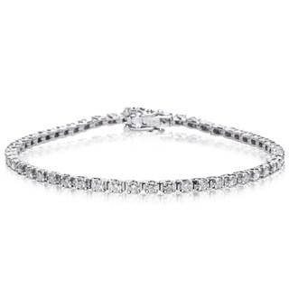 10K White Gold Classic 2 Carat Diamond Tennis Bracelet (J-K, I1-I2) - White J-K