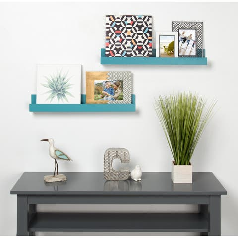 Levie 24 inch 2-Pack Wood Wall Picture Frame Holder Ledge