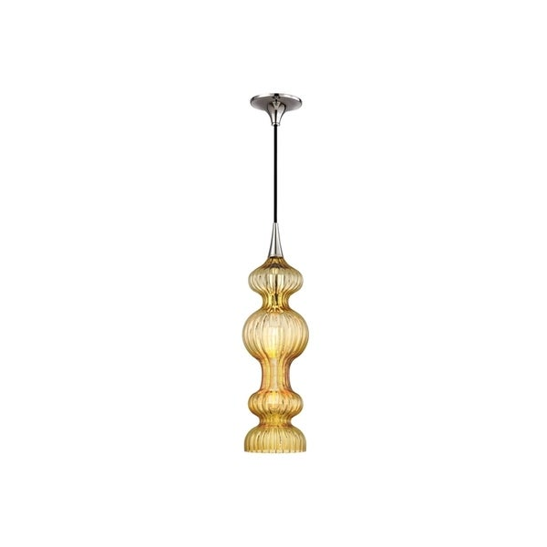 Hudson Valley Pomfret Polished Nickel Metal Pendant, Light Amber Glass