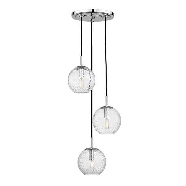Hudson Valley Rousseau Polished Chrome Metal 3-light Cluster Pendant, Clear Glass