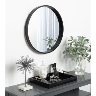 Link to Kate and Laurel Travis Round Wood Accent Wall Mirror Similar Items in Dining Room & Bar Furniture