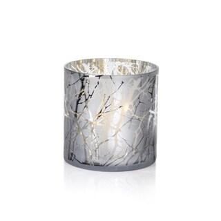 """10"""" Long Etched LED Hurricane Candle Holder, Branch Design, Sivler"""