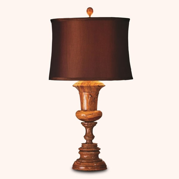 "32"" Tall Marble Table Lamp ""Luxon"" with Linen Shade, Amber"