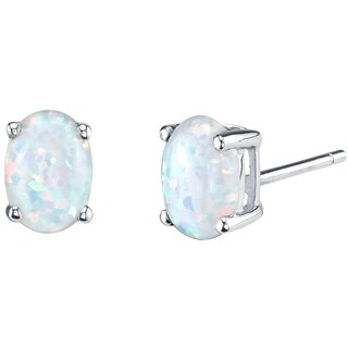 14K Oravo White Gold Oval Shape Created Opal Stud Earrings