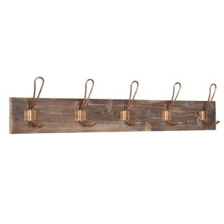 Kate and Laurel Skara Wall Coat Rack Wood with 5 Metal Hooks, Rose Gold - Copper