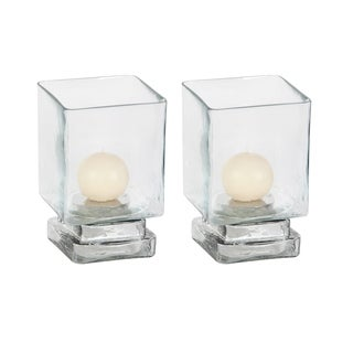 Clay Alder Home Mendota (Set of 2) Glass Candle Hurricane 5 inches wide, 6 inches high
