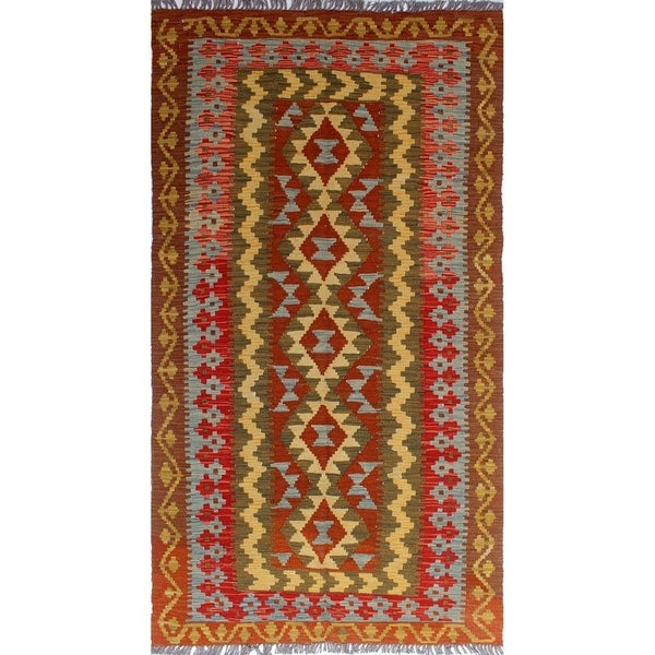 Shop Noori Rug Sangat Kilim Sevil Rust/Green Rug