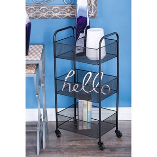 Studio 350 Metal Black Basket Cart 14 inches wide, 29 inches high
