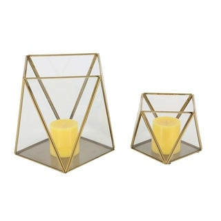 Studio 350 Metal Glass Candle Holder Set of 2, 5 inches, 9 inches high