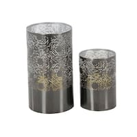 The Curated Nomad Lotta Grey Lattice Metal Candle Holders (Set of 2)