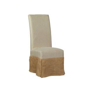 Marlett Draped Linen and Burlap Parsons Chair (Set of 2)