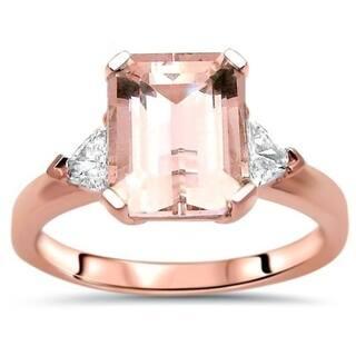 723ba356c7396 14k Rose Gold 2 1/5ct TGW Emerald Cut Morganite Trillion Cut Diamond 3  Stone Engagement Ring - Pink