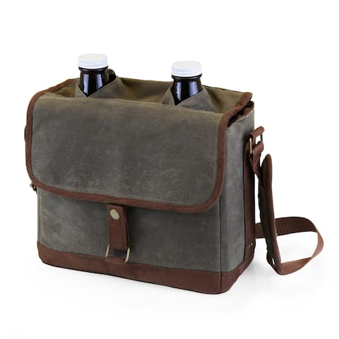 LEGACY® Insulated Double Growler Tote with 64-oz. Glass Growlers, (Waxed Canvas)