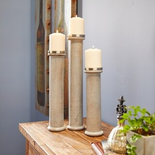 Studio 350 Wood Metal CandleHolders Set of 3, 12 inches, 15 inches, 18 inches high
