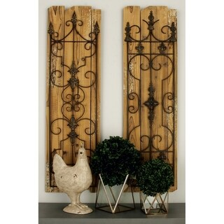 Studio 350 Wood Metal Wall Plaque Set of 2, 48 inches high, 14 inches wide