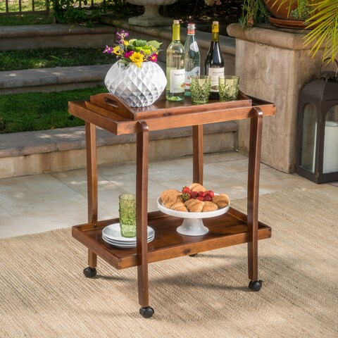Preslie Acacia Wood Bar Cart with Removable Tray by Christopher Knight Home