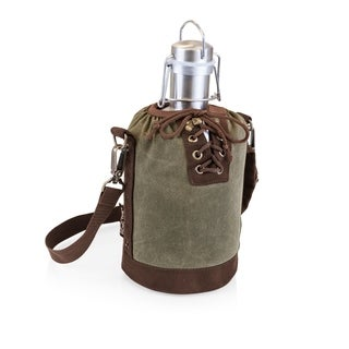 LEGACY® Insulated Growler Khaki Green & Brown Tote with 64-oz. Stainless Steel Growler