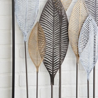 Contemporary 27 x 59 Inch Iron Leaf Wall Decor by Studio 350