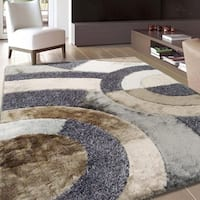 Rug Addiction Silver Gray Beige Brown Black Two Inch Pile Thickness Hand Tufted Silky Shag Area Rug - 5' x 7'