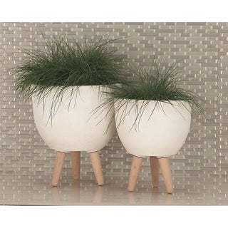 Studio 350 Fibercl Wood Planter Set of 3, 12 inches, 15 inches, 16 inches wide
