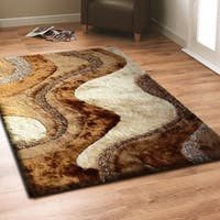 Rug Addiction Light Beige to Dark Brown Two Inch Pile Thickness Hand Tufted Silky Shag Area Rug - 5' x 7'