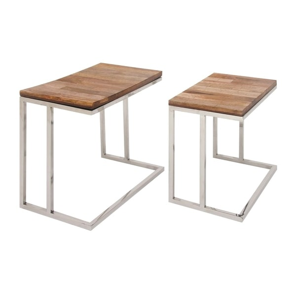 Studio 350 Stainless Steel Wood Table Set Of 2, 18 Inches, 20 Inches High