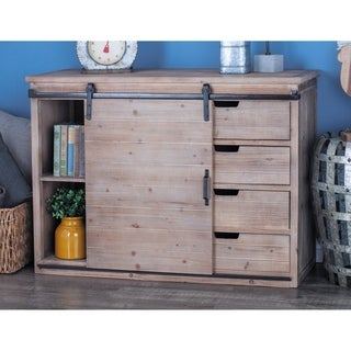 Rustic 32 Inch Rectangular Fir Wood and Iron Cabinet by Studio 350