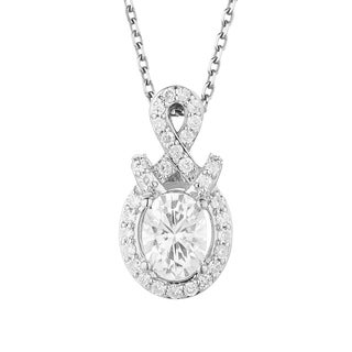 Charles & Colvard Sterling Silver 1 4/5ct DEW Oval Forever Classic Moissanite Halo Pendant - White