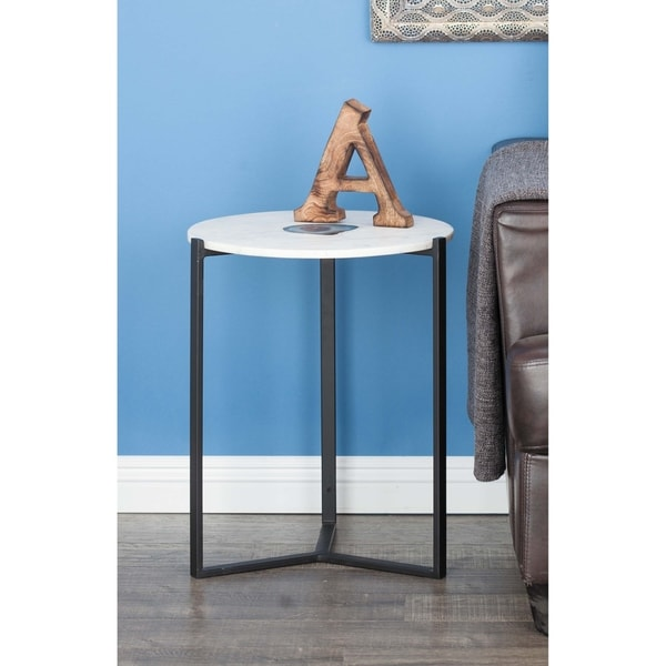White Marble And Metal Round Accent Table: Shop Modern 21 Inch Round Black And White Marble Accent