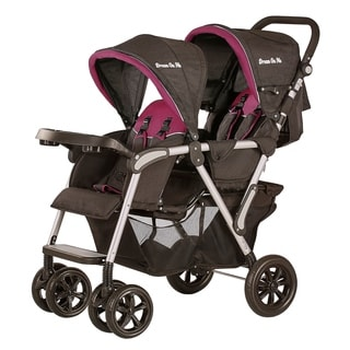 Dream On Me, Villa Tandem Stroller In Black and Raspberry Pink