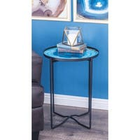 Studio 350 Metal Glass Table 18 inches wide, 24 inches high