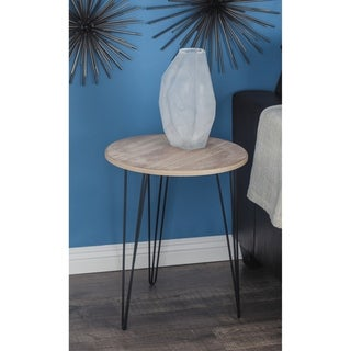 Modern 22 x 18 Inch Round Wood and Iron Accent Table by Studio 350