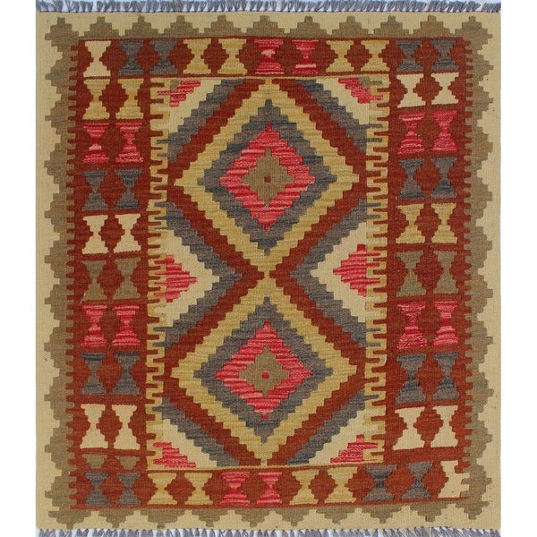 Shop Noori Rug Sangat Kilim Azar Brown/Green Rug