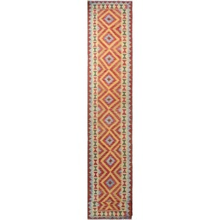 Sangat Kilim Chehra Red/Gold Runner (2'8 x 15'5)