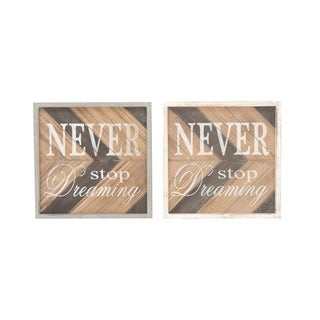 Studio 350 Wood Wall Sign Set of 2, 12 inches wide, 12 inches high