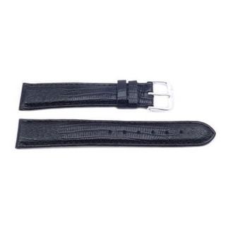 Genuine Leather Long Lizard Grain Black Watch Band (16mm, 18mm, 20mm)