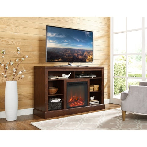 52-inch Electric Fireplace TV Stand with Open Storage - Traditional Brown - N/A