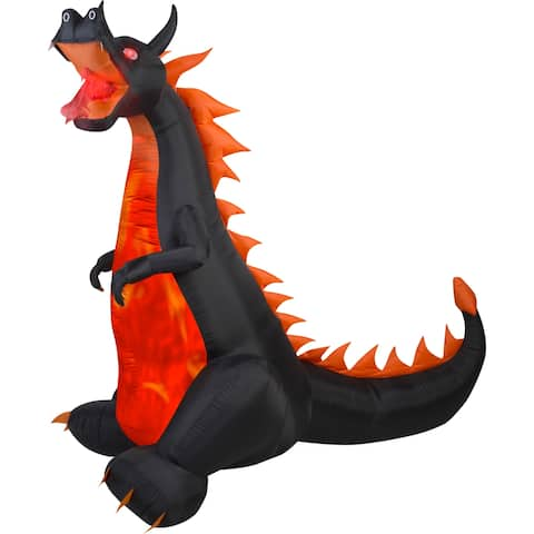 Halloween Airblown Inflatable Projection Fire & Ice-Dragon w/Flaming Mouth