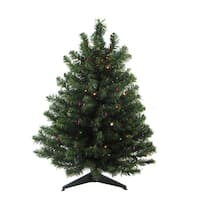 "18"" Pre-Lit Natural Two-Tone Pine Artificial Christmas Tree - Multi LED Lights"