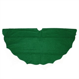 "48"" Christmas Traditions Cardinal Green Scalloped Edge Christmas Tree Skirt"