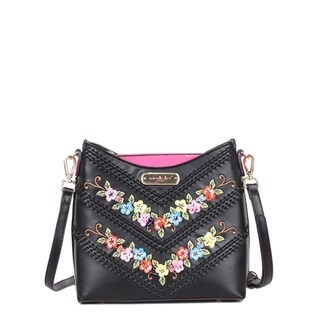 Nicole Lee Black Embroidered and Sequin Design Crossbody Bag