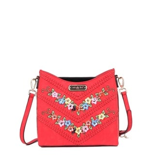 Nicole Lee Red Embroidered and Sequin Design Crossbody Bag