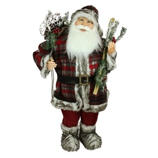 3' Alpine Chic Standing Santa Claus with Frosted Pine Snowshoes and Skis Christmas Figure